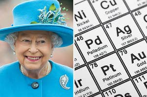 the queen of england on the left and the periodic table on the right