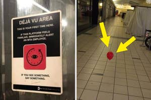 """A sign that says """"Deja Vu Area"""" and a lone red balloon floating in a mall at night"""