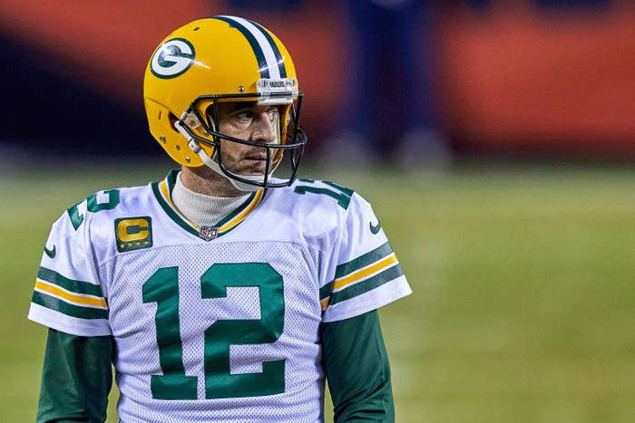 Aaron Rodgers is pictured in his Green Bay Packers uniform during a football game