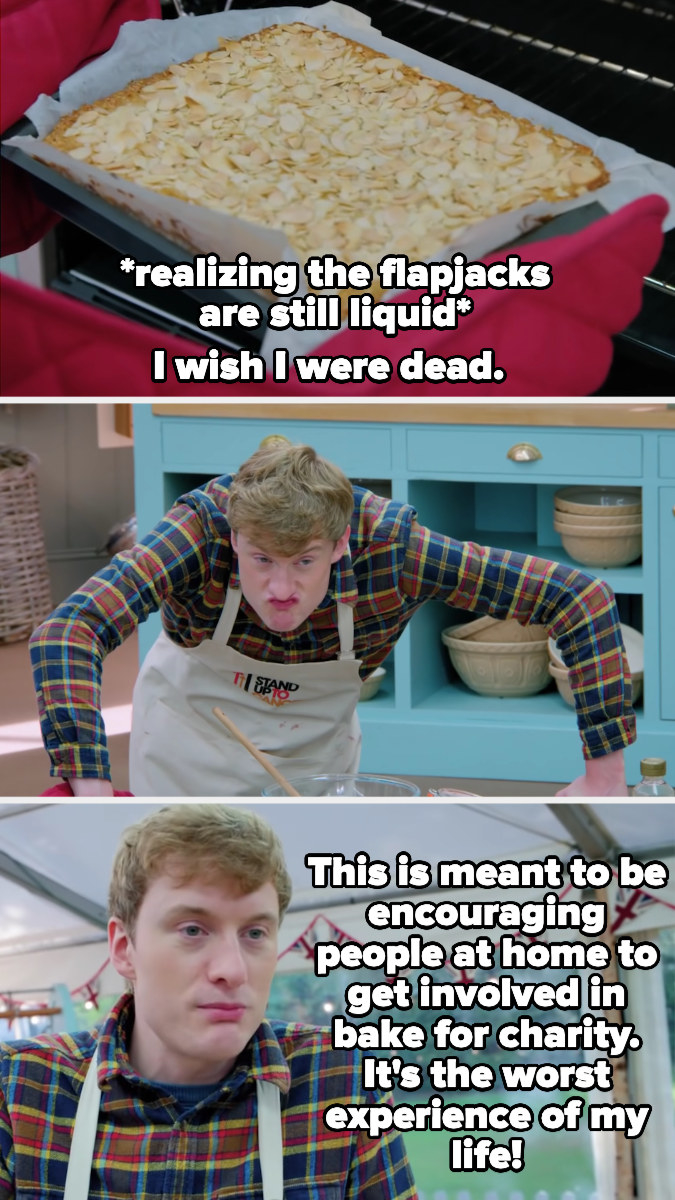 James Acaster has a breakdown after realizing his flapjacks are still liquid