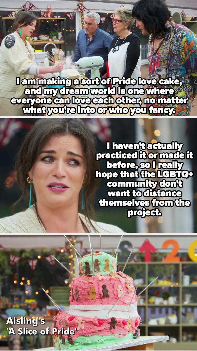 Aisling Bea saying she hopes her cake isn't so bad that the LGBTQ community wants to distance themselves, plus the messy final product