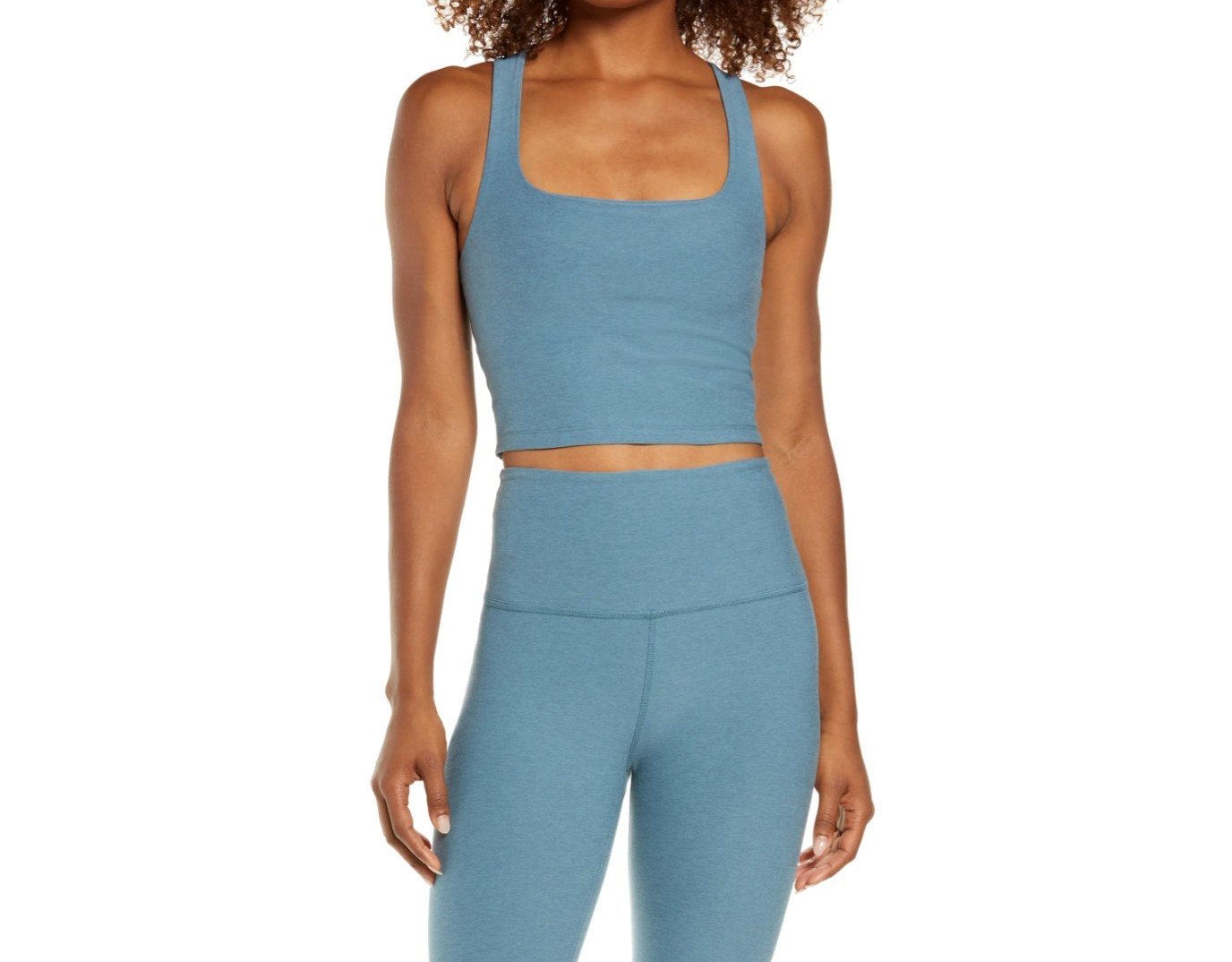 the square neck crop tank in blue mirage mist