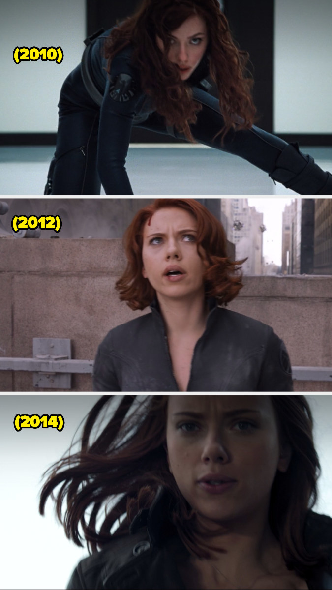 Natasha wearing her hair down in various Marvel clips over the years