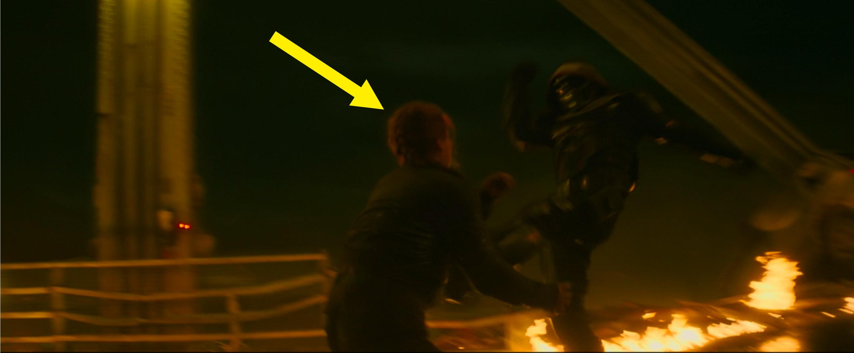 Natasha fighting Taskmaster on the bridge