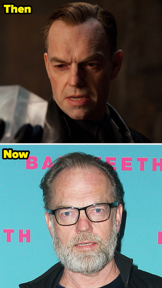 Hugo Weaving with a beard and glasses in real life