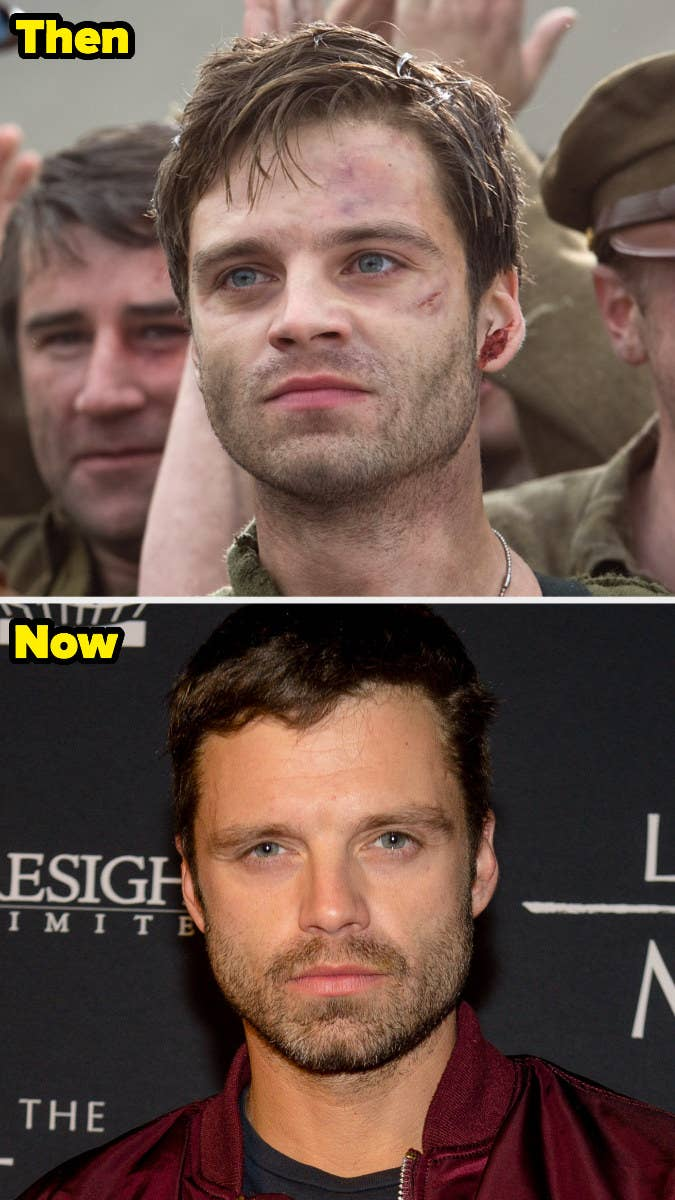 Bucky Barnes with scars on his face vs Sebastian posing on a red carpet