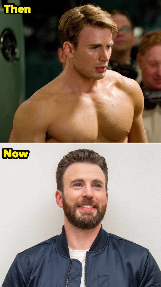 Chris shirtless as Steve Rogers vs. Chris as himself with a full beard