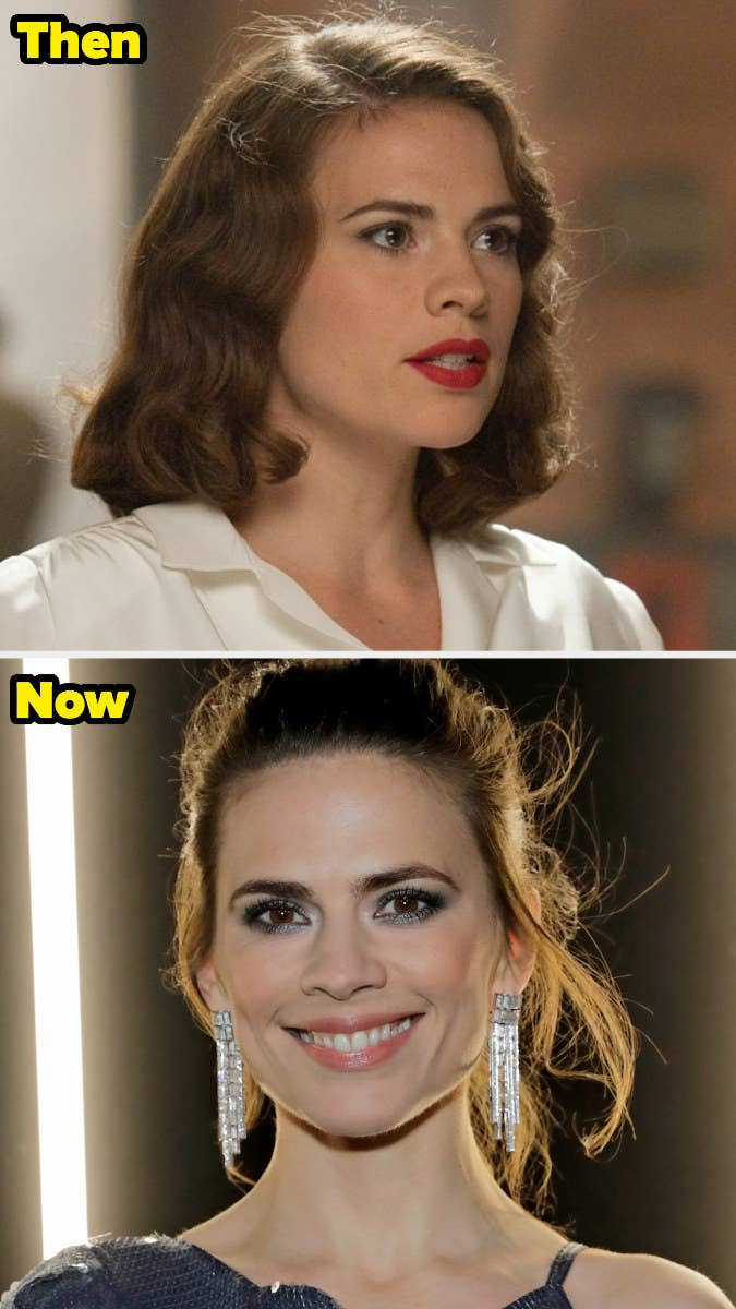 Peggy Carter with a curly bob and lipstick