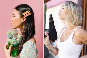 to the left: a model with colorful hair clips in, to the right: a model holding a blow dryer