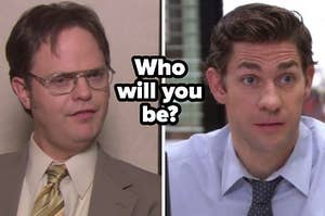 Dwight is mid rant during his solo interview and a close up of Jim Halpert as he looks confused