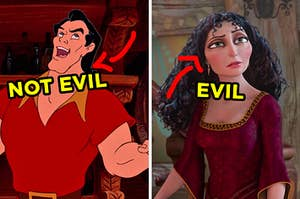 """On the left, Gaston from """"Beauty and the Beast"""" with an arrow pointing to his face and """"not evil"""" typed under it, and on the right, Mother Gothel from """"Tangled"""" with an arrow pointing to her face and """"evil"""" typed under it"""
