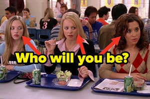 Karen, Regina, and Gretchen sit on one side of a lunch room table in their school cafeteria