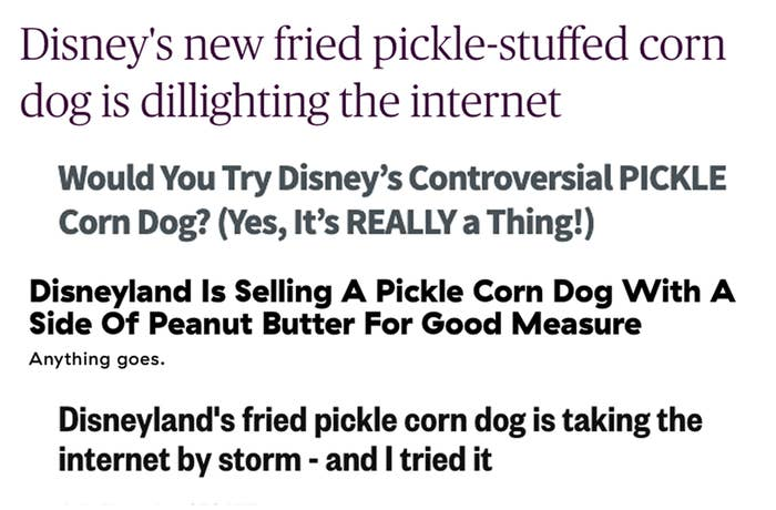 headlines from various websites talking about the pickle corn dog taking the internet by storm
