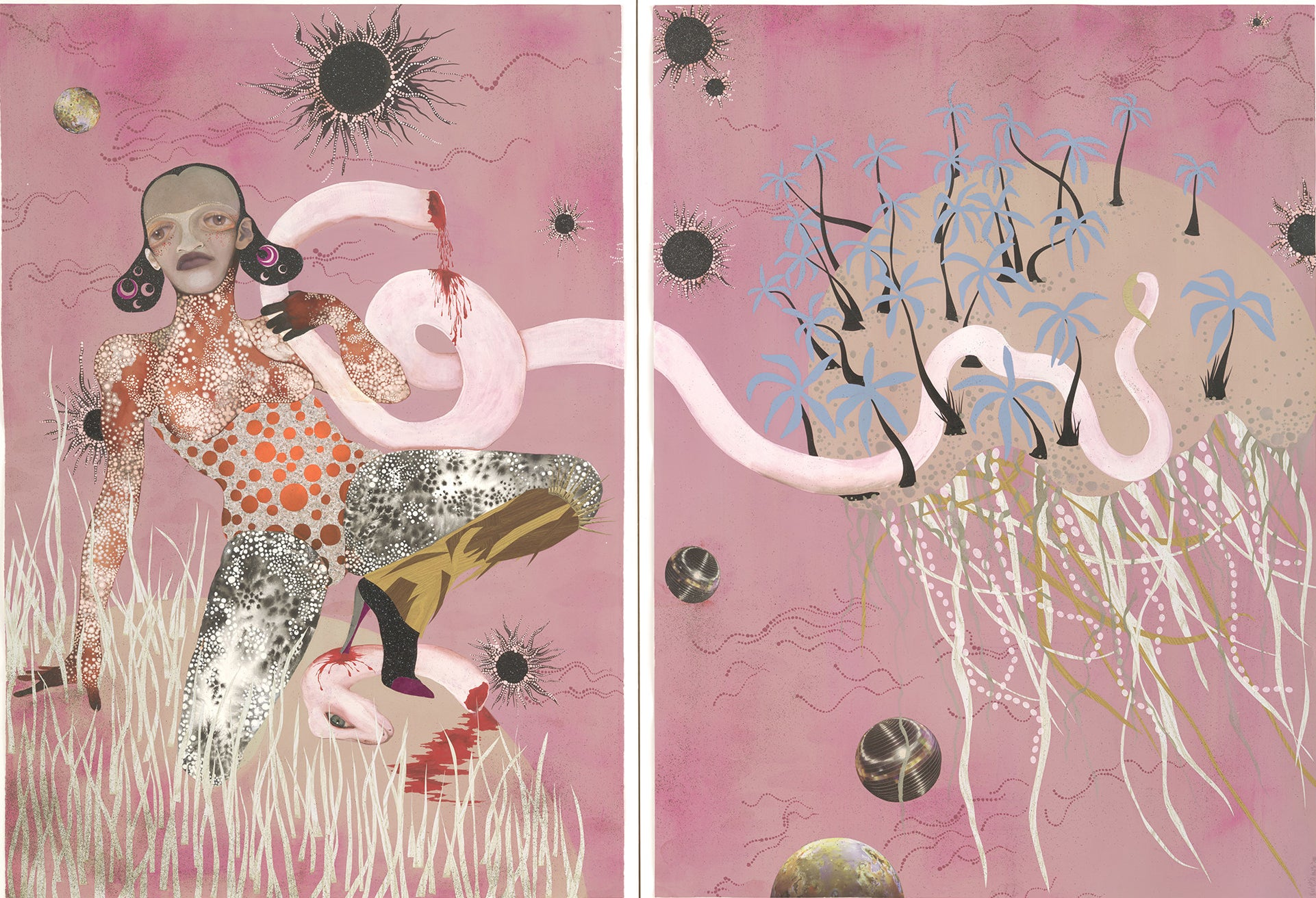 A painting collage in two panels of a woman in heels with tentacles, balls, trees