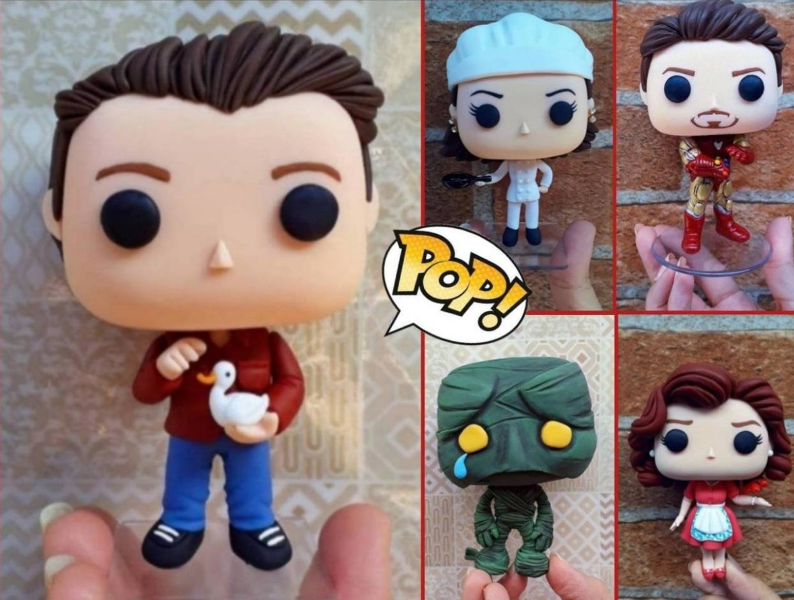 Five Funko Pops of different styles