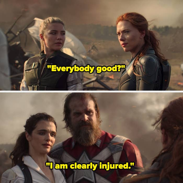 """A battlefield scene in which one person says, """"Everybody good"""" and someone else replies """"I am clearly injured"""""""