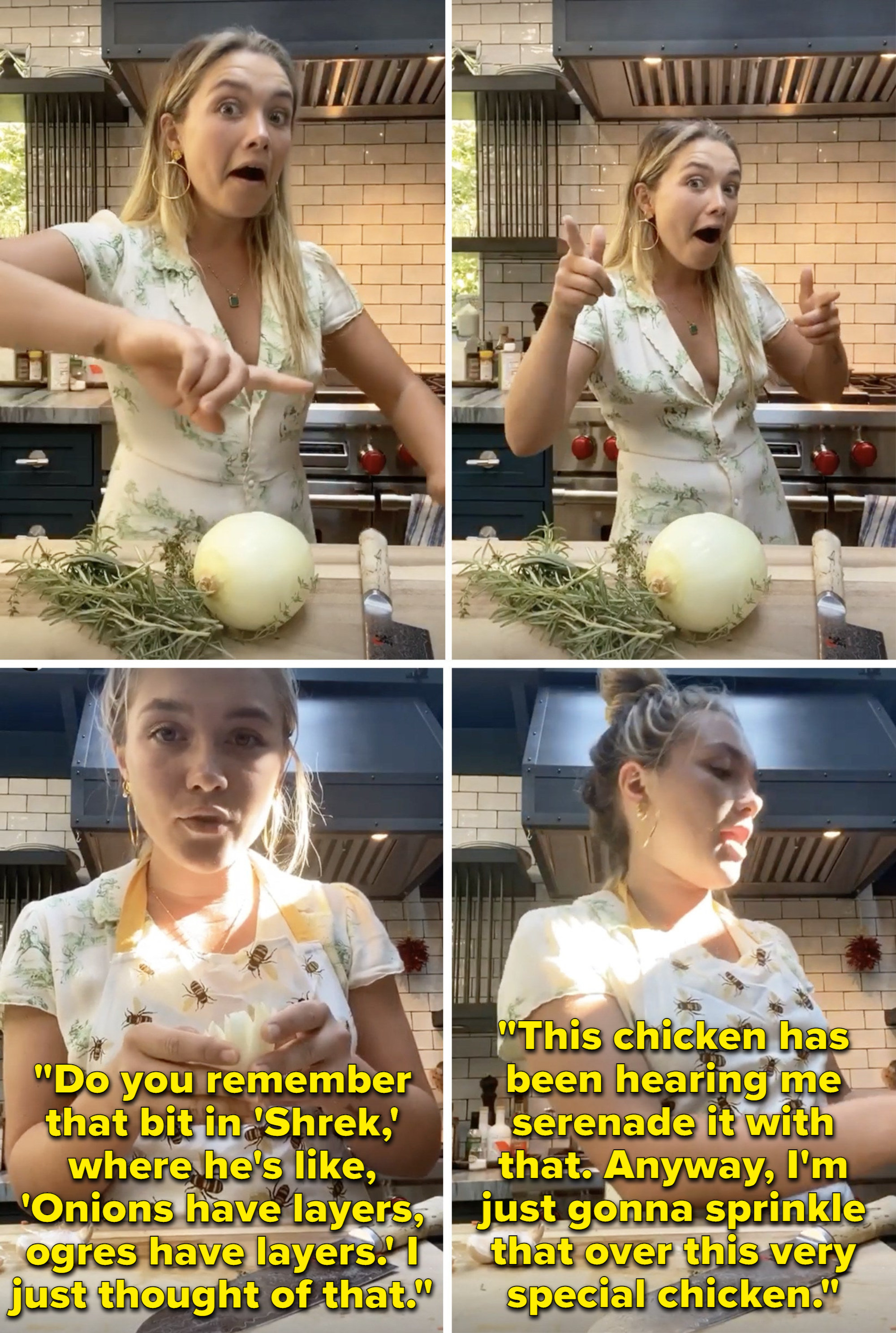 """Florence talking about """"Shrek"""" and his line, """"Onions have layers, ogres have layers,"""" while cutting up an onion"""