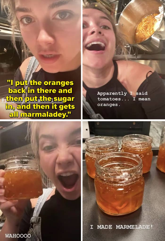 Florence showing off her orange marmalade and explaining how she makes it