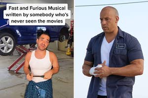 """Screenshot of a TikTok featuring a guy in a garage holding a hammer with the text """"Fast and Furious Musical written by somebody who's never seen the movies"""" next to a photo of Vin Diesel in Fast and Furious"""
