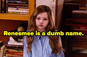 """Renesmee standing up against the wall to measure her height in """"Breaking Dawn Part Two"""" labeled """"Renesmee is a dumb name"""""""