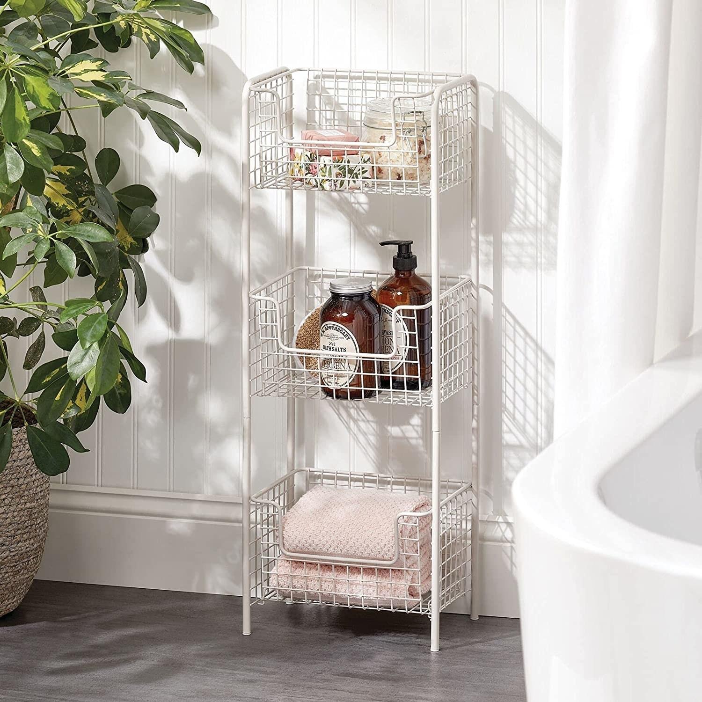 the cream colored basket shelf