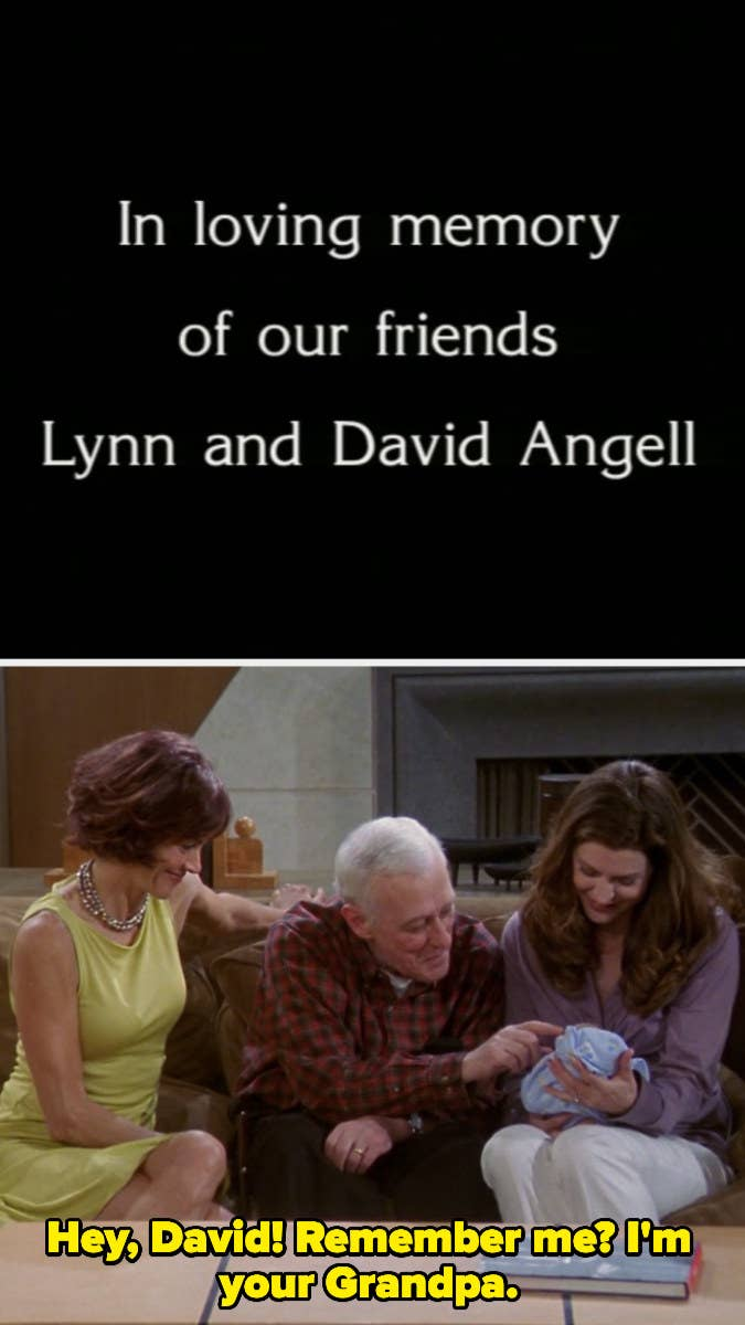 """A title card reading """"In loving memory of our friends Lynn and David Angell"""" and Martin Crane calling Niles and Daphne's baby """"David"""""""