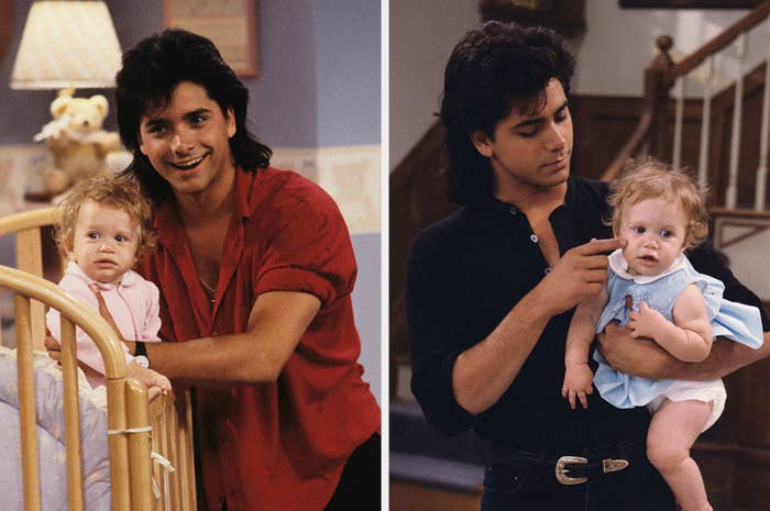 """John Stamos on the set of """"Full House"""" with the Olsen twins as Michelle"""