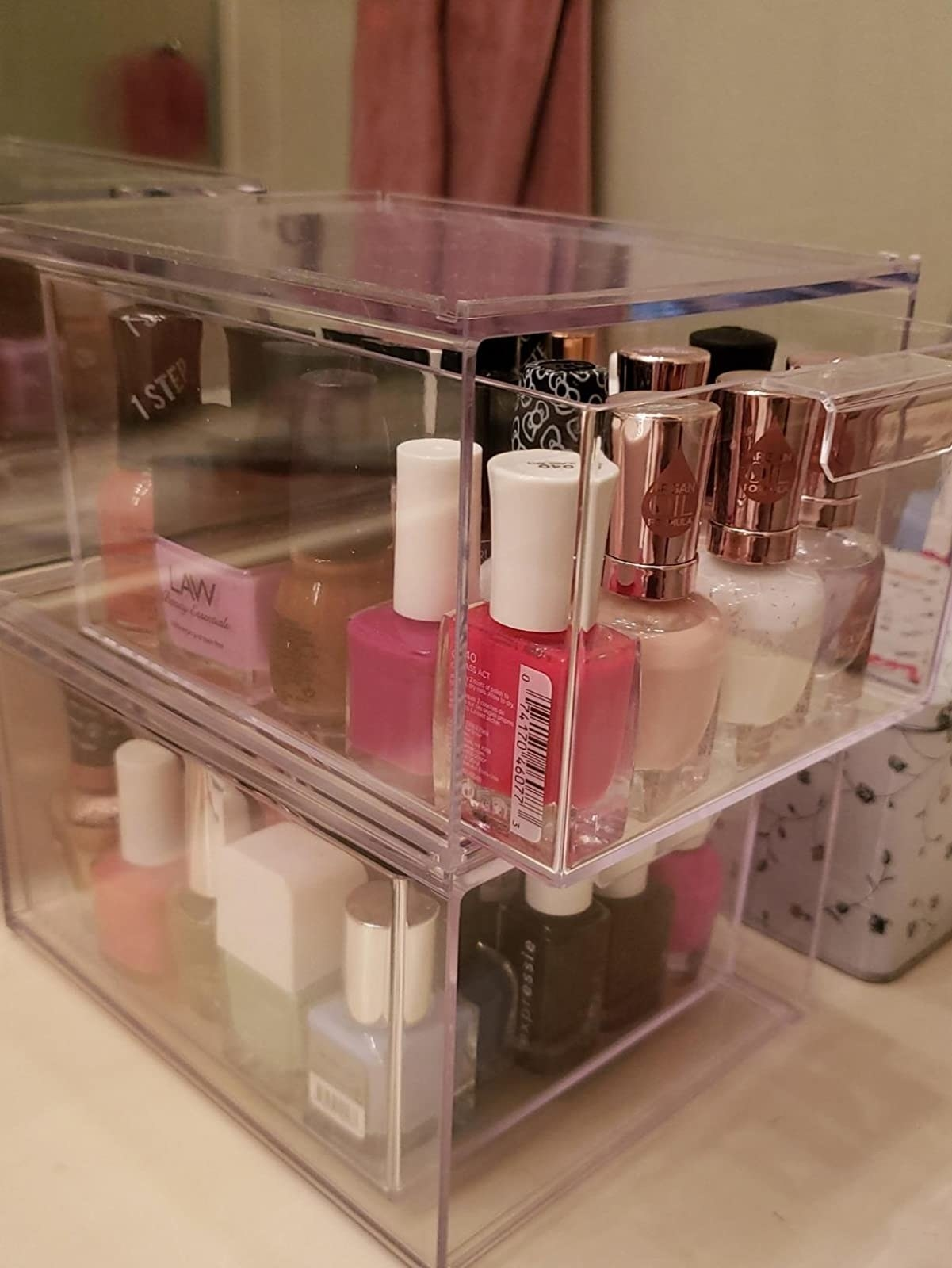 the boxes filled with nail polishes