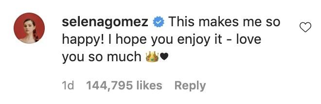 A screenshot of Selena's comment