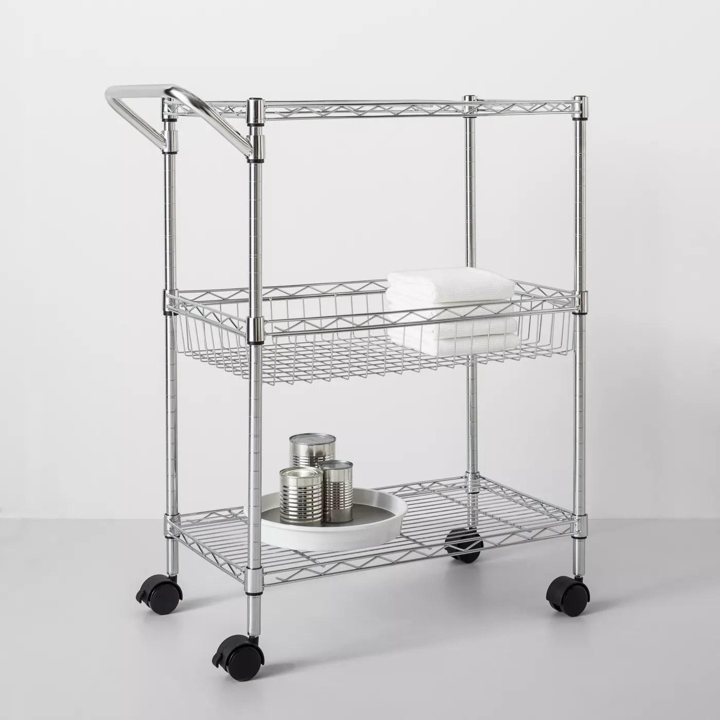 A metal storage cart