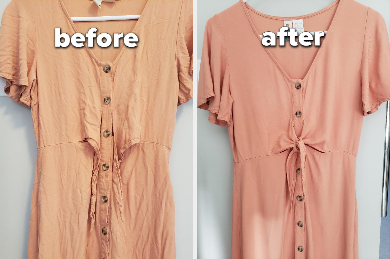 a before and after of a wrinkled dress and a steamed wrinkle free dress