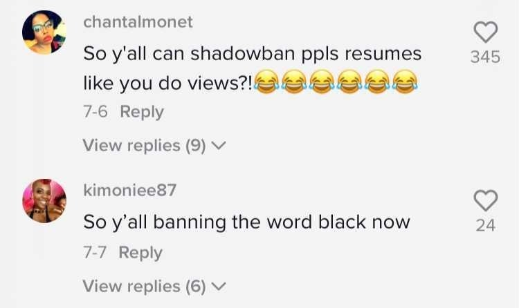"""Commenters saying """"So you can shadowban people's resumes like you do views?"""" and """"So y'all banning the word black now"""""""