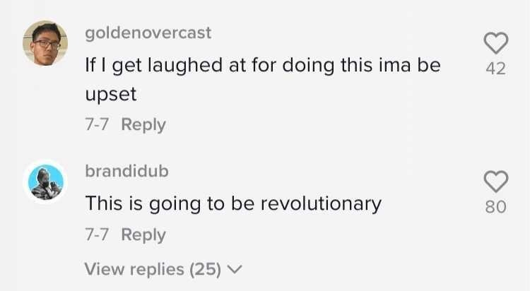 """TikTok comments, one saying """"If I get laughed at for doing this ima be upset"""" and """"This is going to be revolutionary"""""""