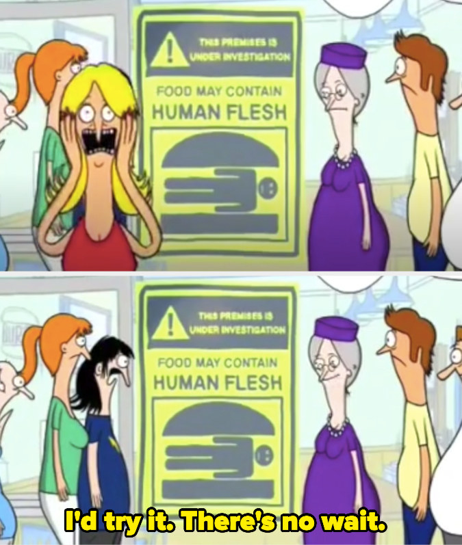 """A crowd standing around a sign reading """"food may contain human flesh"""" in the original pitch of """"Bob's Burgers"""""""