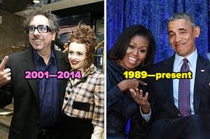 Tim Burton and Helena Bonham Carter; Michelle and Barack Obama
