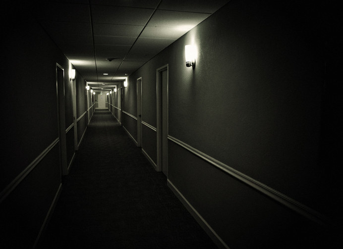 Creepy, dim hallway
