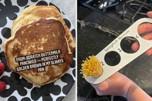 A split thumbnail of pancakes and a spaghetti measure