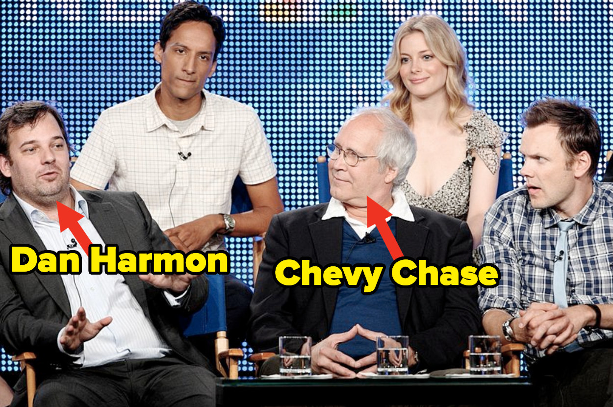 """Chevy Chase and Dan Harmon being interviewed with the cast of """"Community"""""""