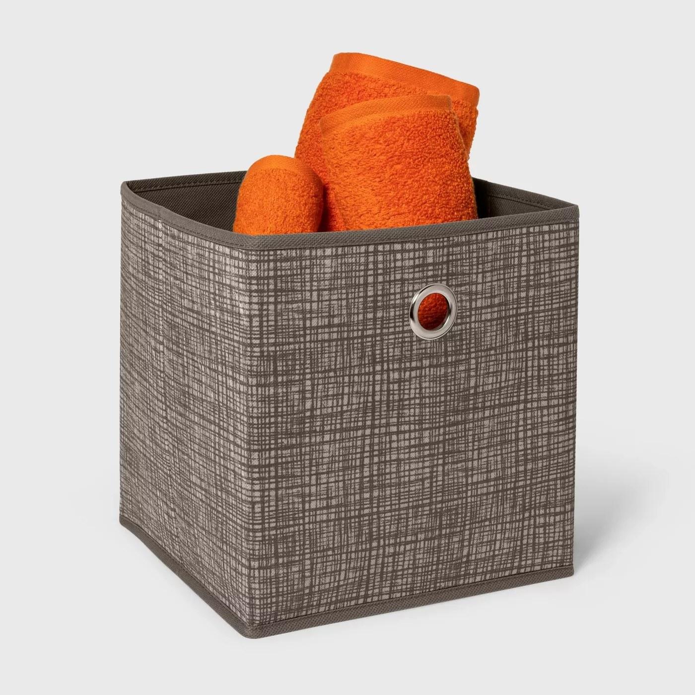 A fabric storage bin