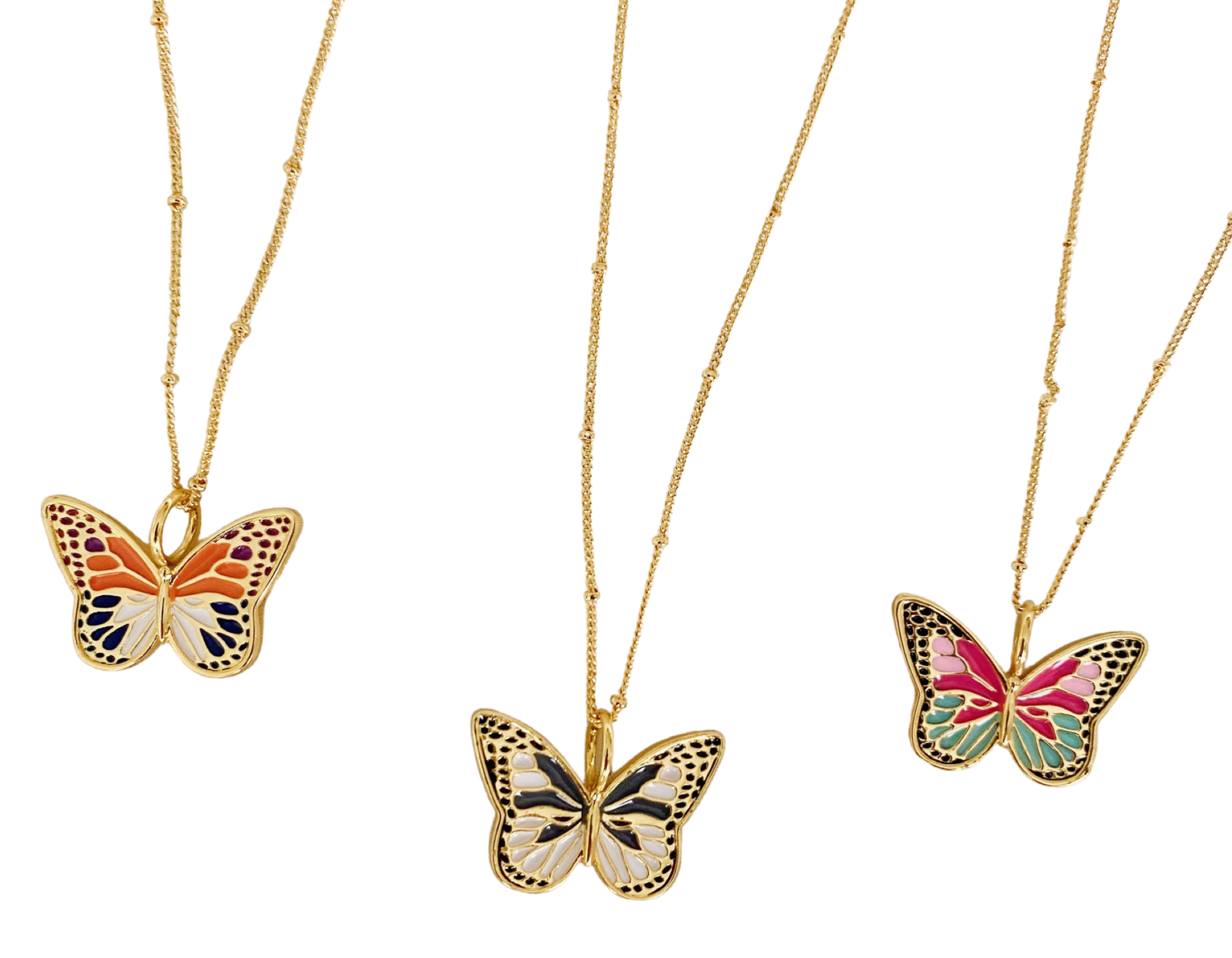 butterfly necklaces in three different colors