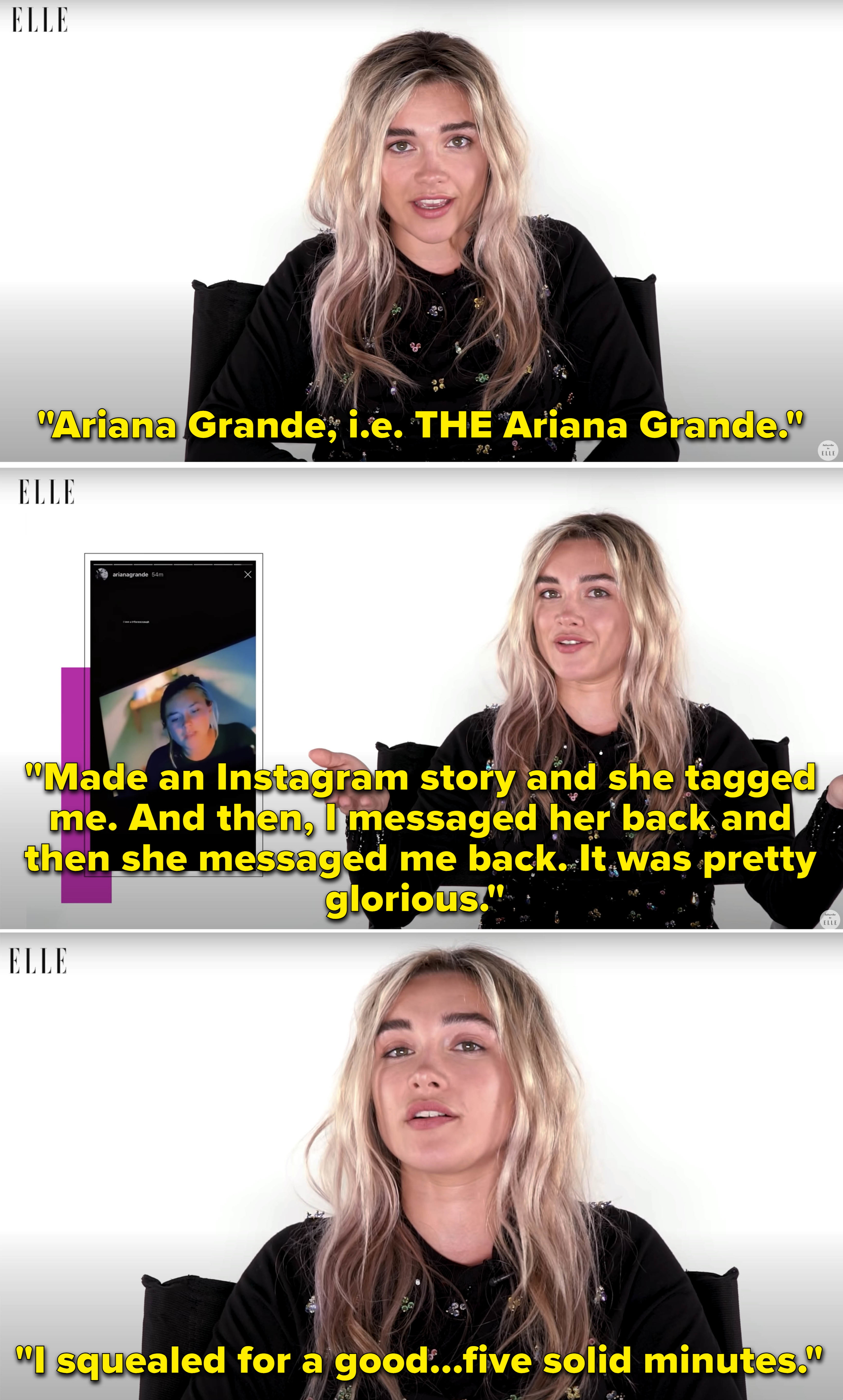 """Florence explaining messaging back and forth with Ariana Grande about """"Midsommar"""" and her freaking out"""