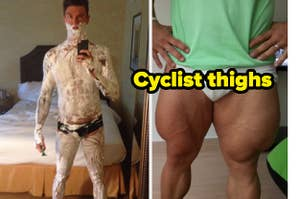 cyclist thighs and a man covered in shaving cream