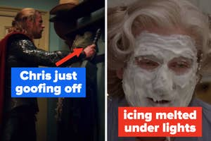 Chris Hemsworth goofing off on Thor set, the icing melting off Mrs Doubtfire's face