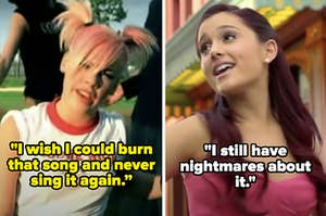 """Pink in the """"Don't Let Me Get Me"""" music video with the caption """"I wish I could burn that song and never sing it again"""" and Ariana Grande in the """"Put Your Hearts Up"""" music video with the caption """"I still have nightmares about it"""""""