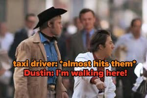 a taxi driver almost hit Dustin Hoffman on the Midnight Cowboy set