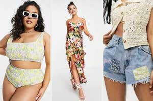 model wearing a shirred bikini; model in a floral maxi dress; model in patchwork shorts