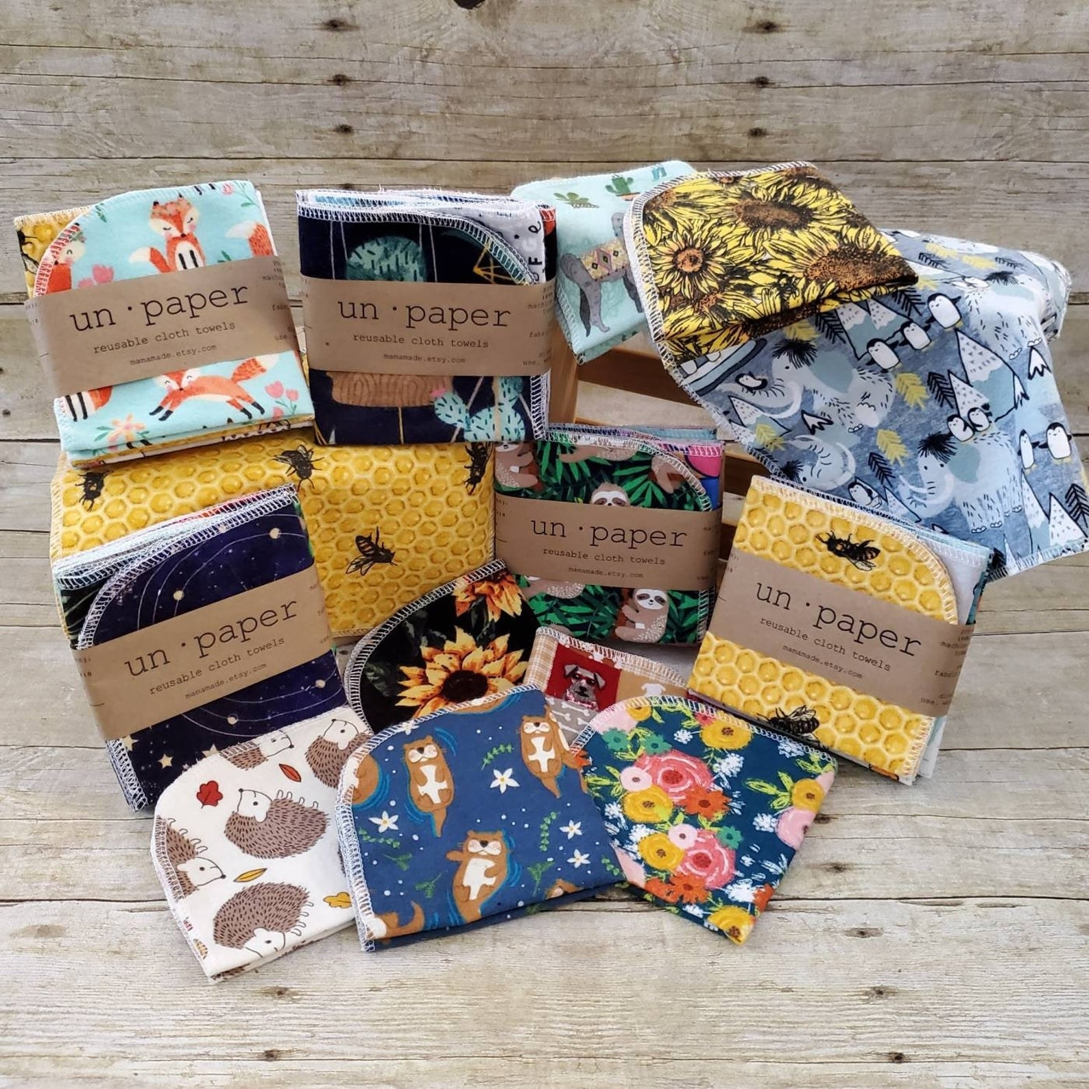 The reusable cloth napkins in a variety of prints and colors