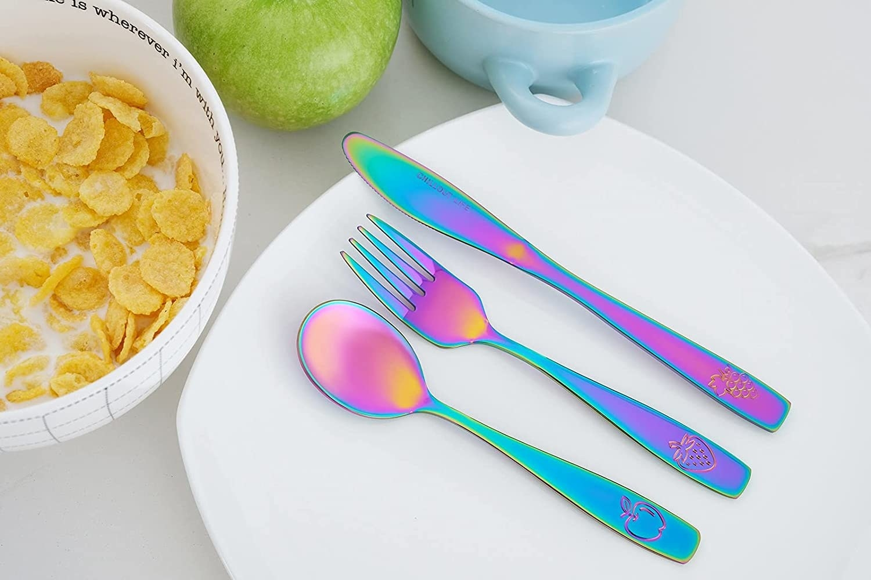 The stainless steel utensil set in rainbow