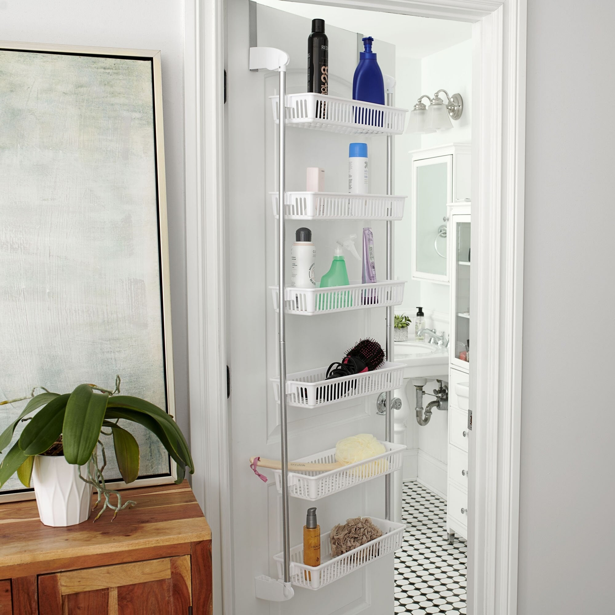 white over the door organizer with six baskets