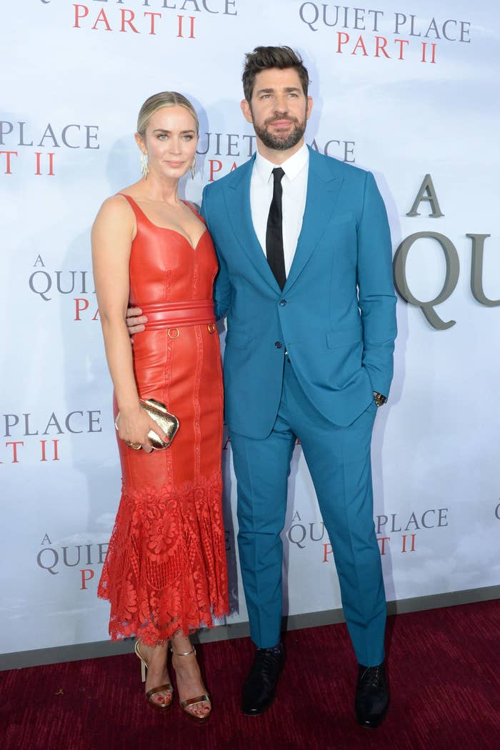 Emily Blunt and John Krasinski on the A Quiet Place Part II red carpet